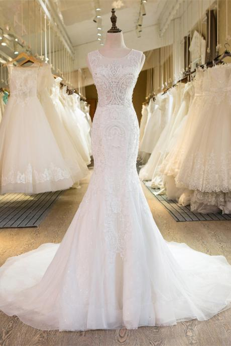 Round Sheer Sleeveless Beaded Tulle Mermaid Wedding Dress Featuring Chapel Train