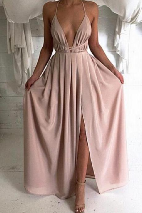 Sexy Deep V-neck High Slit Prom Dress Simple A-line Satin Evening/Party Gowns 2017