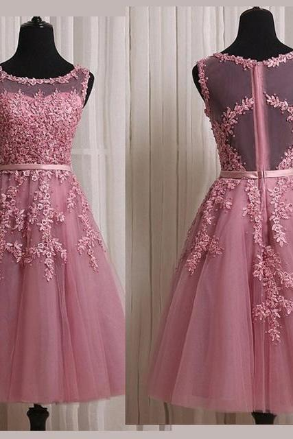 Dusty Pink Homecoming Dresses,Short Lace Homecoming Dresses,Homecoming Dresses 2017,Party Dress