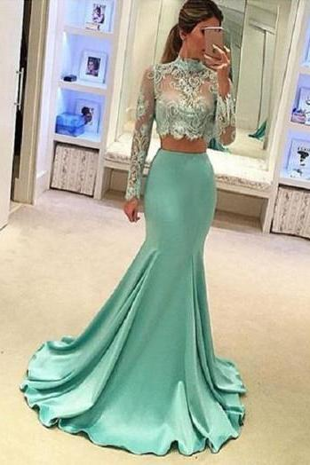 Mint Green Prom Dresses,Two Piece Prom Dresses,Prom Dresses 2017,Long Sleeve Prom Dresses