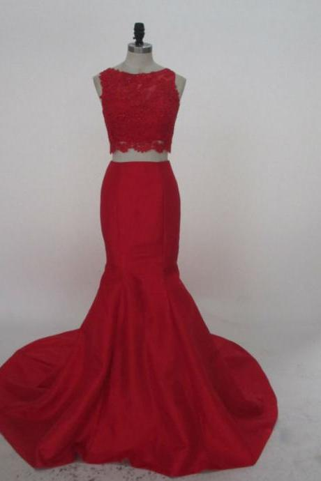 Real Photos Prom Dresses,Two Piece Prom Dress,Red Satin Prom Dress Mermaid Prom Dress Appliques And Beading Prom Dress2017
