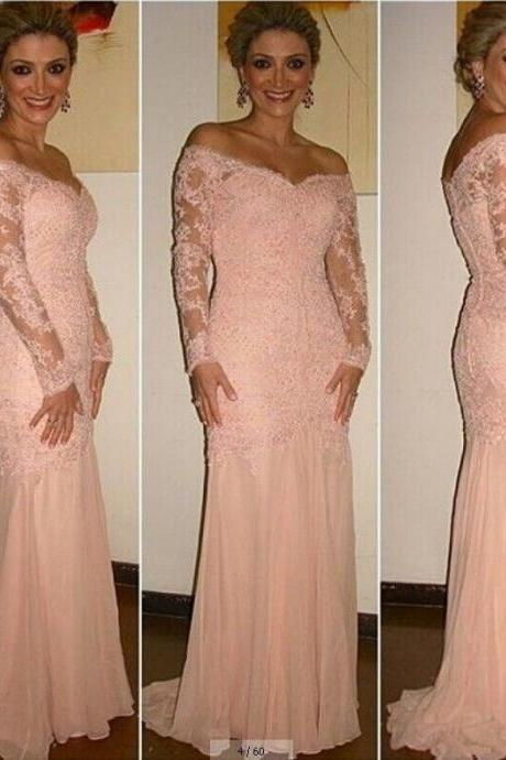 Lace Prom Dress Long Sleeves Prom Dress Pink Sweetheart Chiffon Prom Dress,Custom Made Evening/Party Gowns 2017