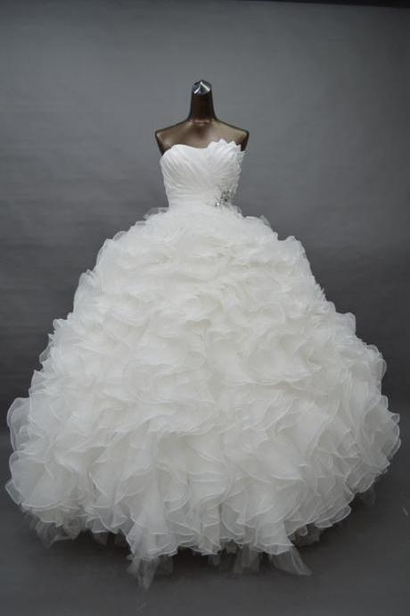 Strapless Ruched Ruffled Princess Ball Wedding Gown