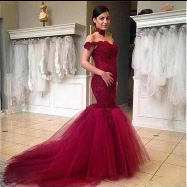 Burgundy Mermaid Prom Dresses,Off The Shoulder Prom Dress,Prom Dress Long 2019,Evening Gowns,Formal Dress