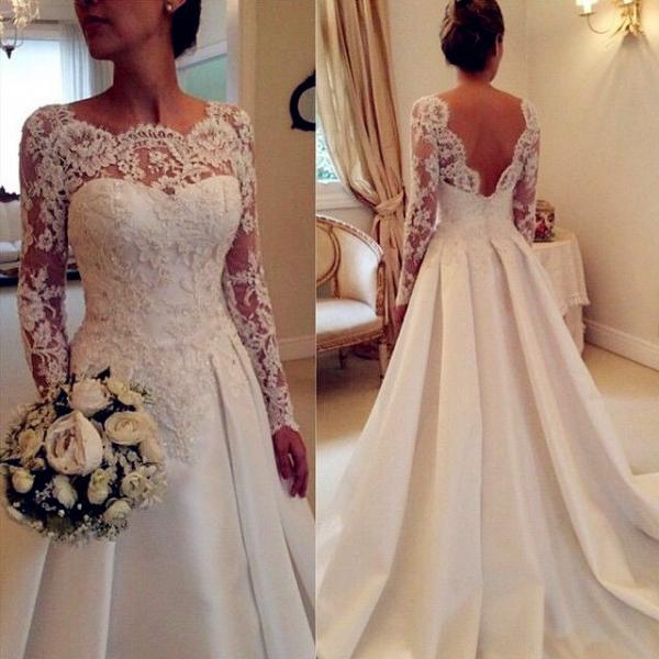 2016 White/Ivory Wedding Dress,Bridal Dress,A-Line Lace Wedding Dresses, Backless Wedding Dress,Wedding Dresses