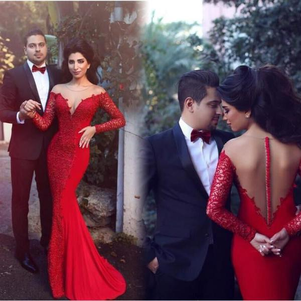 Sexy Mermaid Prom Dress Evening Dress ,Red Long Sleeves Formal Women Dress,Evening Gowns 2016