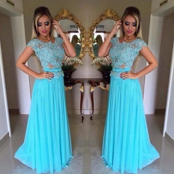 High Quality Cap Sleeves Appliqued Chiffon A-Line Long Prom Dresses Custom Made Evening Gowns