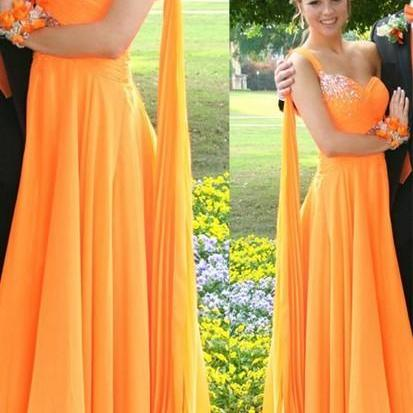 2017 Sexy Orange One Shoulder Beading Chiffon A-Line Prom Dresses,Handmade Women Evening Gowns