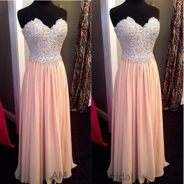 Pink Sweetheart Long Prom Dresses Handmade High Quality Beading Chiffon Evening Gowns 2017
