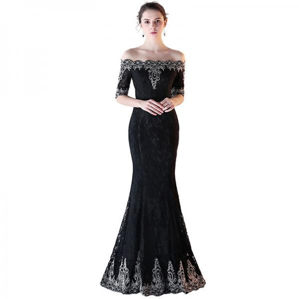 Black Lace Formal Evening Dresses With Sleeves 2017 Mermaid Prom Gowns Custom Made