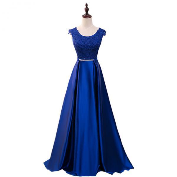 Real Photos Scoop Neck Prom Dresses Long 2017 Modest Cap Sleeve Satin Formal Evening Gowns