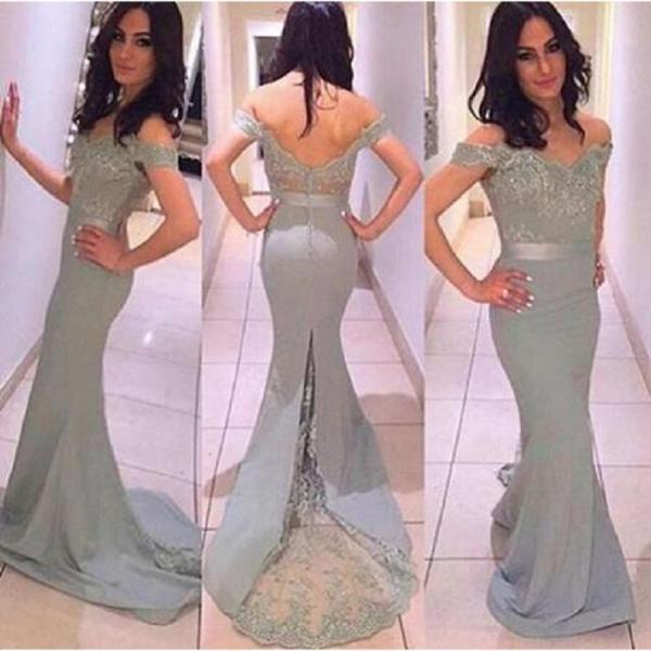 Grey Off The Shoulder Long Prom Dress,Sexy Appliques And Beading Mermaid Evening/Party Gowns 2017