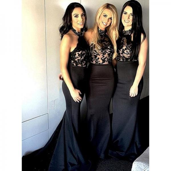 2017 Sexy Black Mermaid Satin Long Prom Dress,Custom Made Lace Sleeveless Evening/Party Gowns